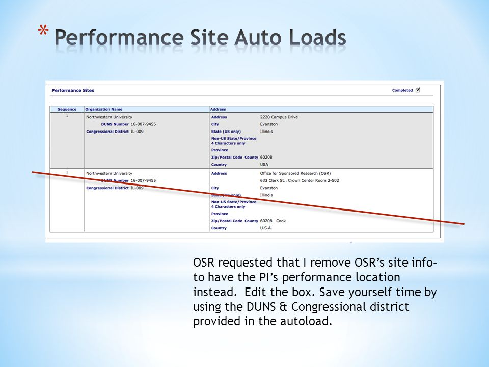 OSR requested that I remove OSRs site info– to have the PIs performance location instead.
