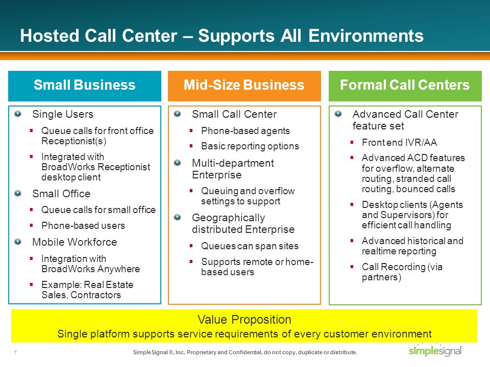 Hosted Call Center – Supports All Environments Single Users Queue calls for front office Receptionist(s) Integrated with BroadWorks Receptionist desktop client Small Office Queue calls for small office Phone-based users Mobile Workforce Integration with BroadWorks Anywhere Example: Real Estate Sales, Contractors Small Call Center Phone-based agents Basic reporting options Multi-department Enterprise Queuing and overflow settings to support Geographically distributed Enterprise Queues can span sites Supports remote or home- based users Small BusinessMid-Size Business Advanced Call Center feature set Front end IVR/AA Advanced ACD features for overflow, alternate routing, stranded call routing, bounced calls Desktop clients (Agents and Supervisors) for efficient call handling Advanced historical and realtime reporting Call Recording (via partners) Formal Call Centers 7 SimpleSignal ®, Inc.