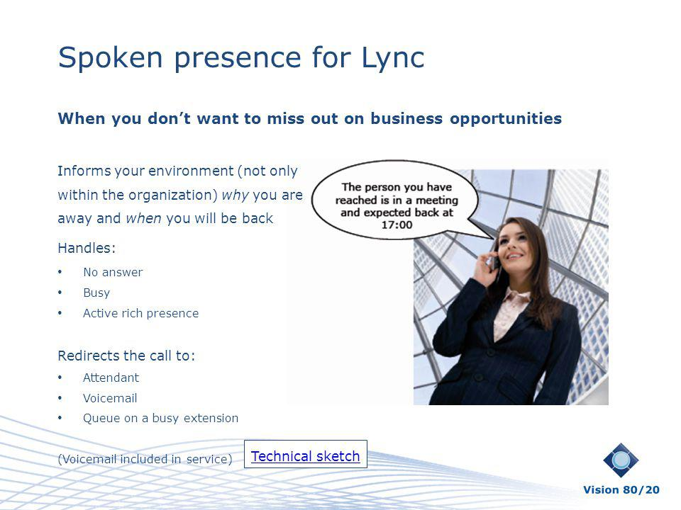 Spoken presence for Lync When you dont want to miss out on business opportunities Informs your environment (not only within the organization) why you