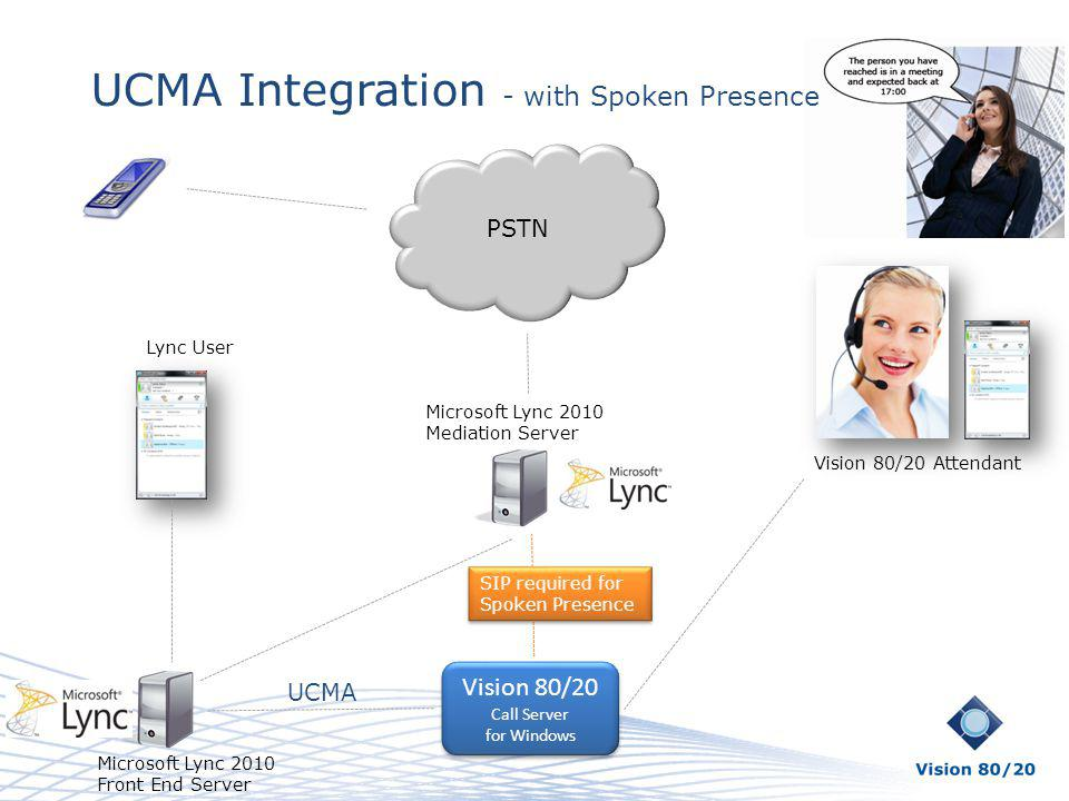 UCMA Integration - with Spoken Presence PSTN Vision 80/20 Attendant Lync User Vision 80/20 Call Server for Windows Vision 80/20 Call Server for Window
