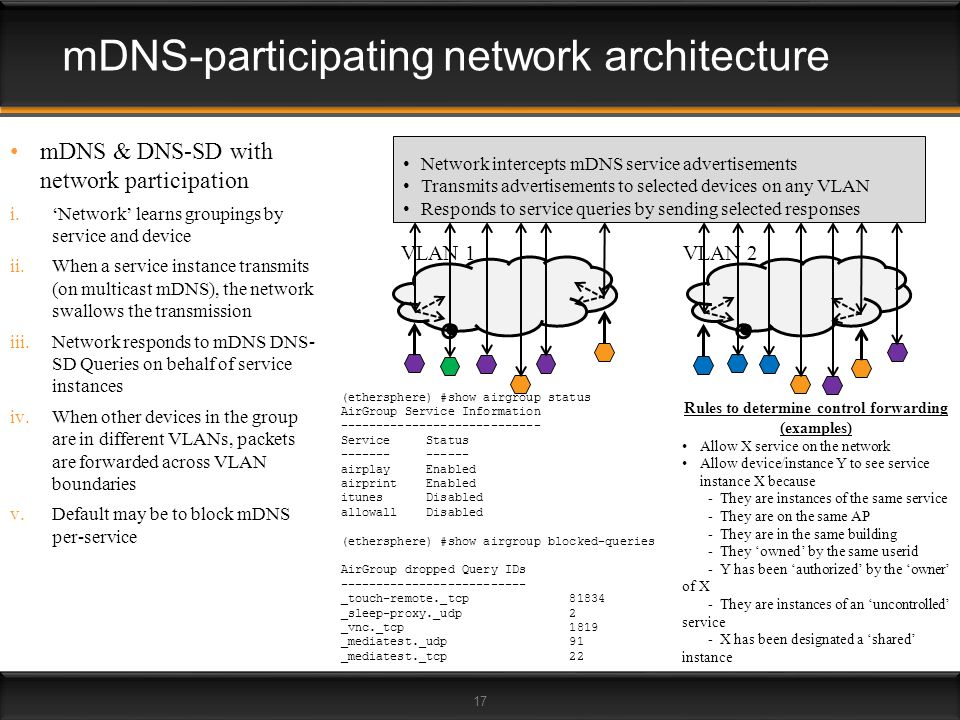 17 mDNS & DNS-SD with network participation i.Network learns groupings by service and device ii.When a service instance transmits (on multicast mDNS),
