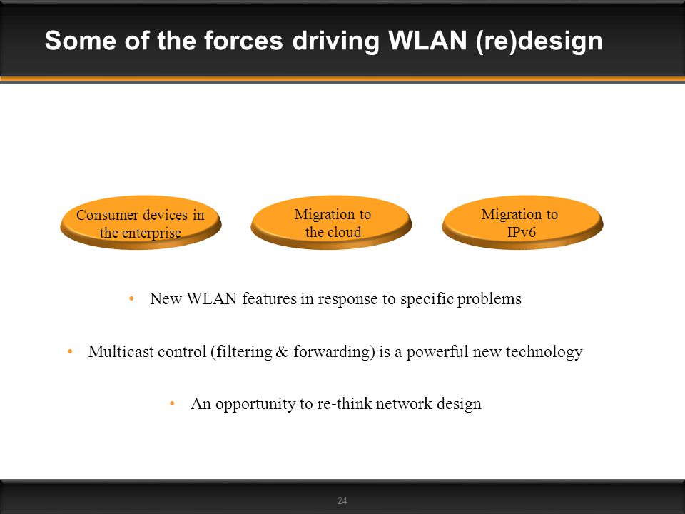 24 Some of the forces driving WLAN (re)design Migration to IPv6 Consumer devices in the enterprise Migration to the cloud New WLAN features in respons