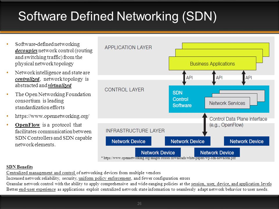 26 Software Defined Networking (SDN) SDN Benefits Centralized management and control of networking devices from multiple vendors Increased network rel