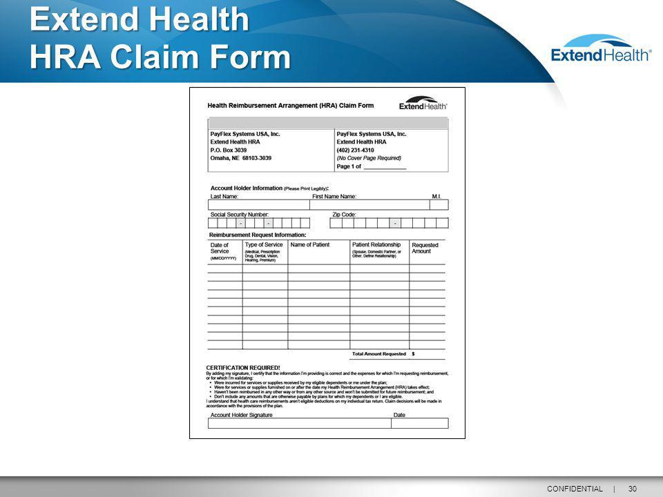 30CONFIDENTIAL | Extend Health HRA Claim Form