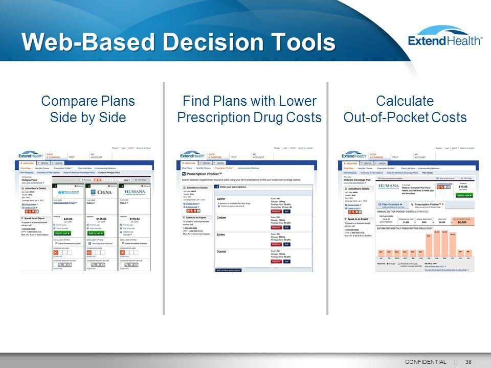 38CONFIDENTIAL | Web-Based Decision Tools Compare Plans Side by Side Find Plans with Lower Prescription Drug Costs Calculate Out-of-Pocket Costs