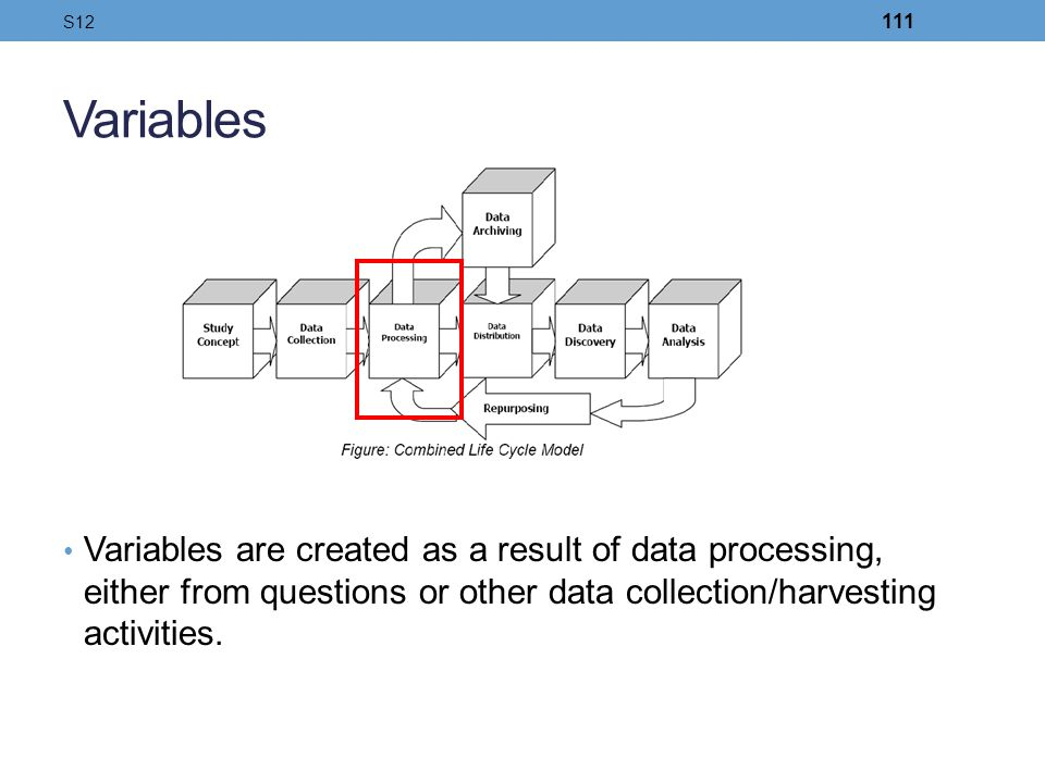 Variables Variables are created as a result of data processing, either from questions or other data collection/harvesting activities. S12 111