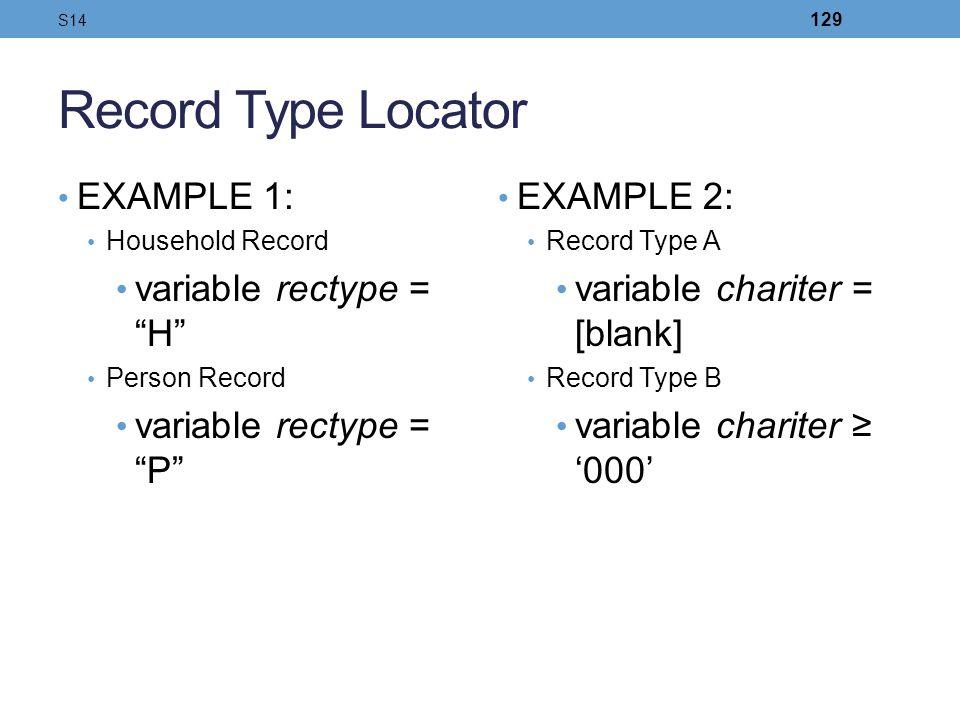 Record Type Locator EXAMPLE 1: Household Record variable rectype = H Person Record variable rectype = P EXAMPLE 2: Record Type A variable chariter = [