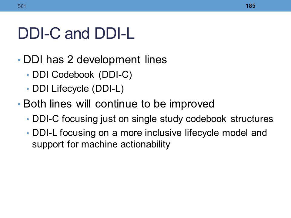 DDI-C and DDI-L DDI has 2 development lines DDI Codebook (DDI-C) DDI Lifecycle (DDI-L) Both lines will continue to be improved DDI-C focusing just on