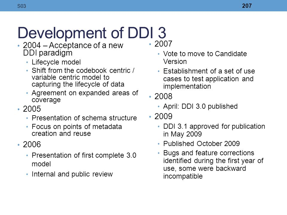 Development of DDI 3 2004 – Acceptance of a new DDI paradigm Lifecycle model Shift from the codebook centric / variable centric model to capturing the
