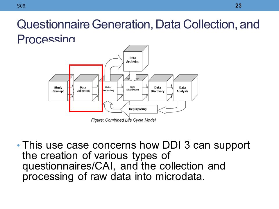 Questionnaire Generation, Data Collection, and Processing This use case concerns how DDI 3 can support the creation of various types of questionnaires
