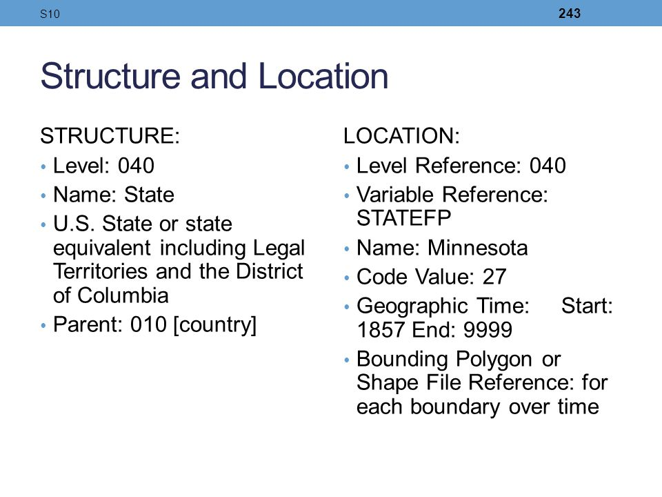 Structure and Location STRUCTURE: Level: 040 Name: State U.S. State or state equivalent including Legal Territories and the District of Columbia Paren