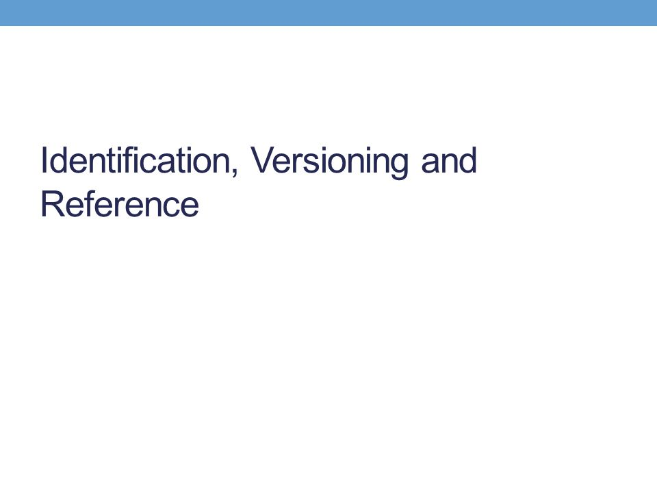 Identification, Versioning and Reference