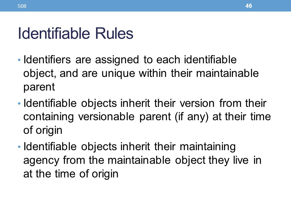 Identifiable Rules Identifiers are assigned to each identifiable object, and are unique within their maintainable parent Identifiable objects inherit