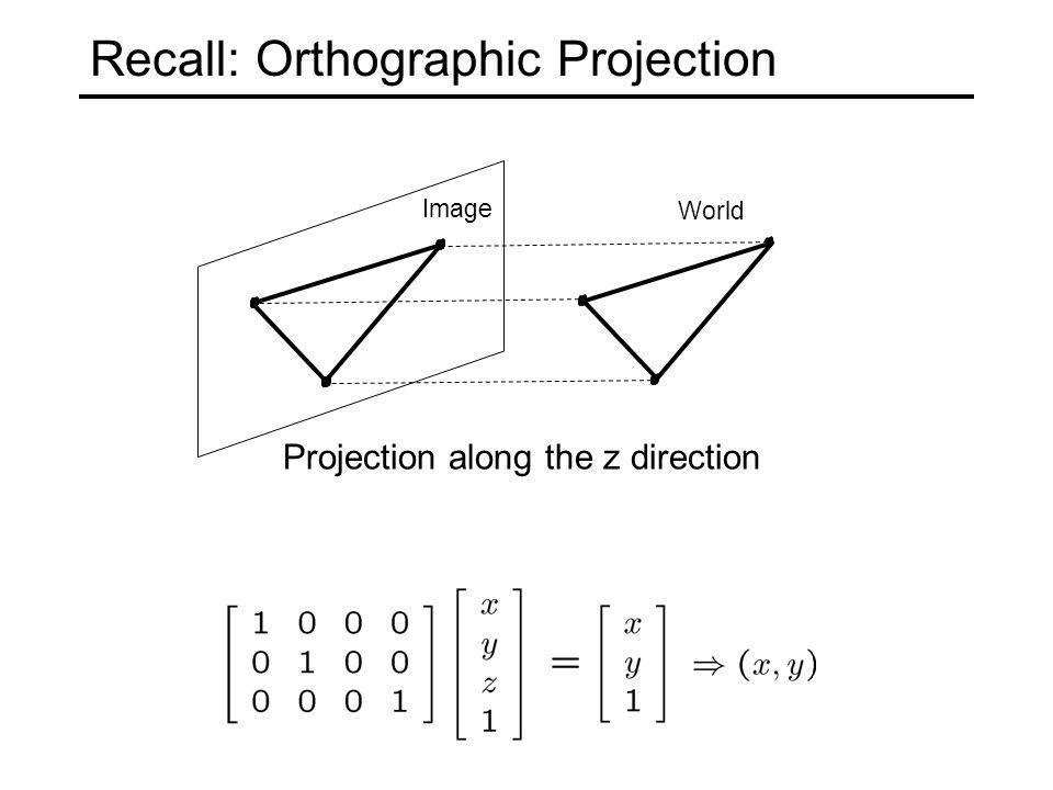 Recall: Orthographic Projection Image World Projection along the z direction
