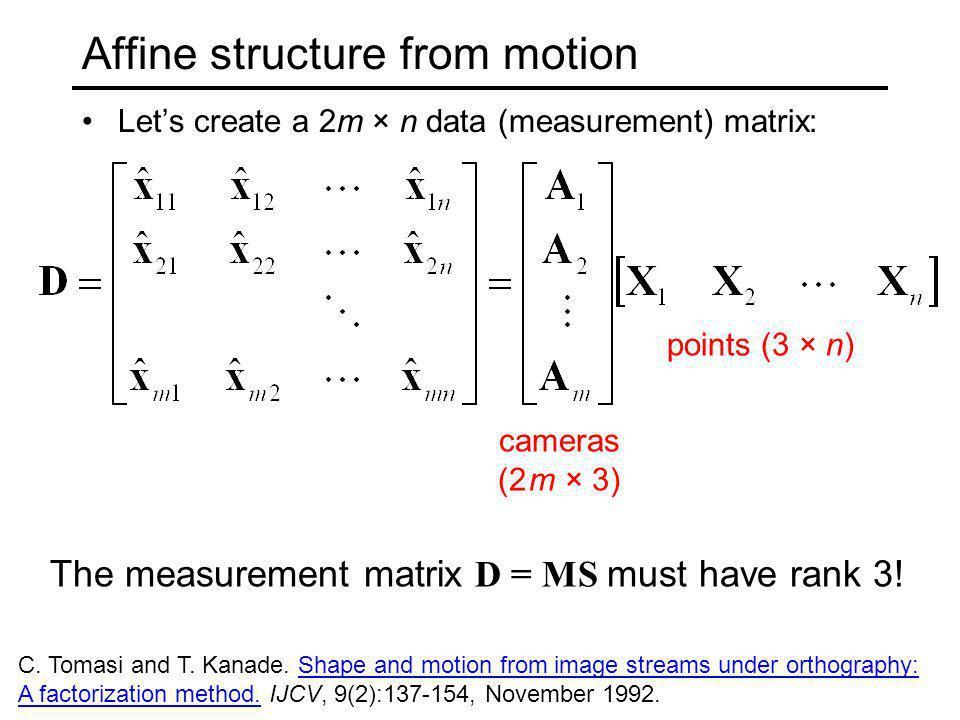 Affine structure from motion Lets create a 2m × n data (measurement) matrix: cameras (2 m × 3) points (3 × n) The measurement matrix D = MS must have