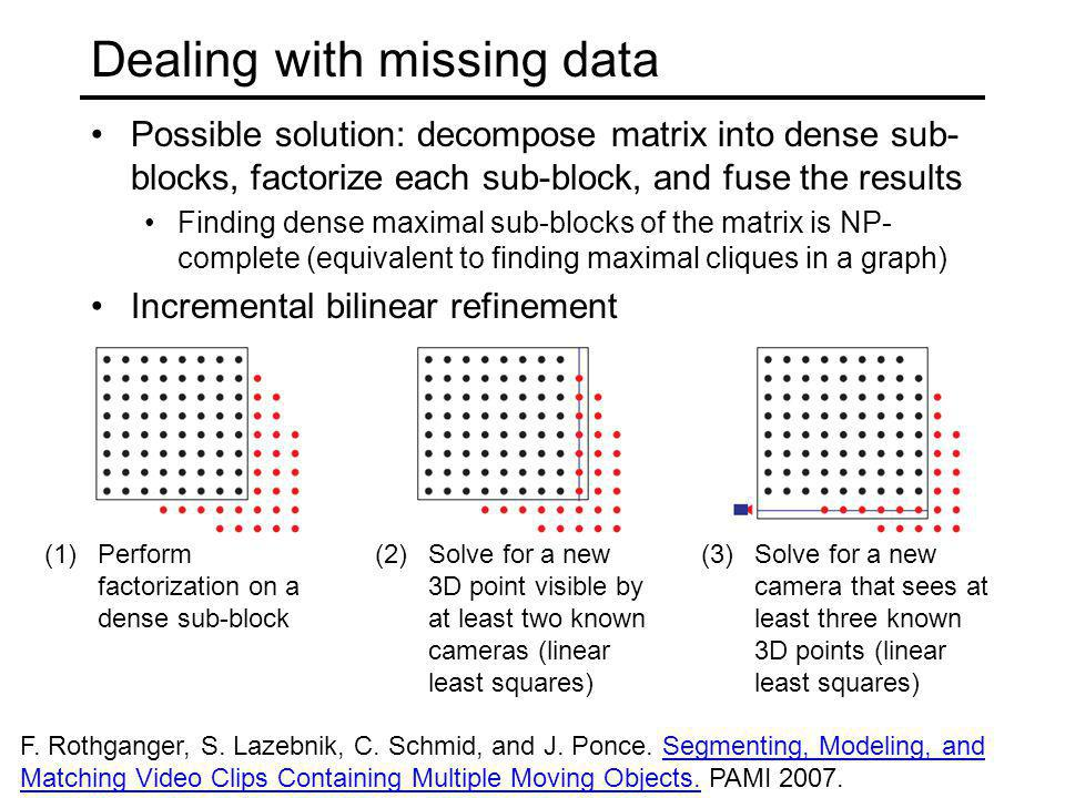 Dealing with missing data Possible solution: decompose matrix into dense sub- blocks, factorize each sub-block, and fuse the results Finding dense max