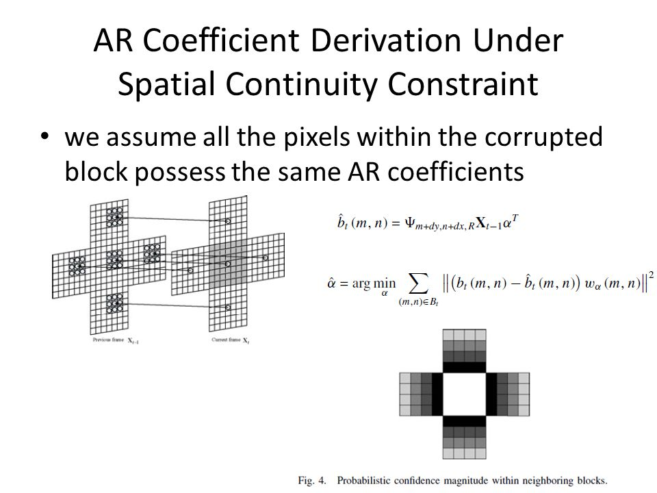 AR Coefficient Derivation Under Spatial Continuity Constraint we assume all the pixels within the corrupted block possess the same AR coefficients