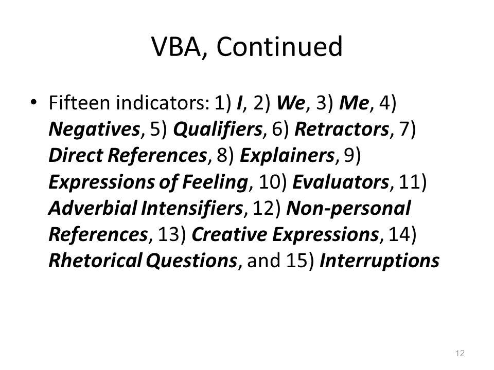 VBA, Continued Fifteen indicators: 1) I, 2) We, 3) Me, 4) Negatives, 5) Qualifiers, 6) Retractors, 7) Direct References, 8) Explainers, 9) Expressions of Feeling, 10) Evaluators, 11) Adverbial Intensifiers, 12) Non-personal References, 13) Creative Expressions, 14) Rhetorical Questions, and 15) Interruptions 12