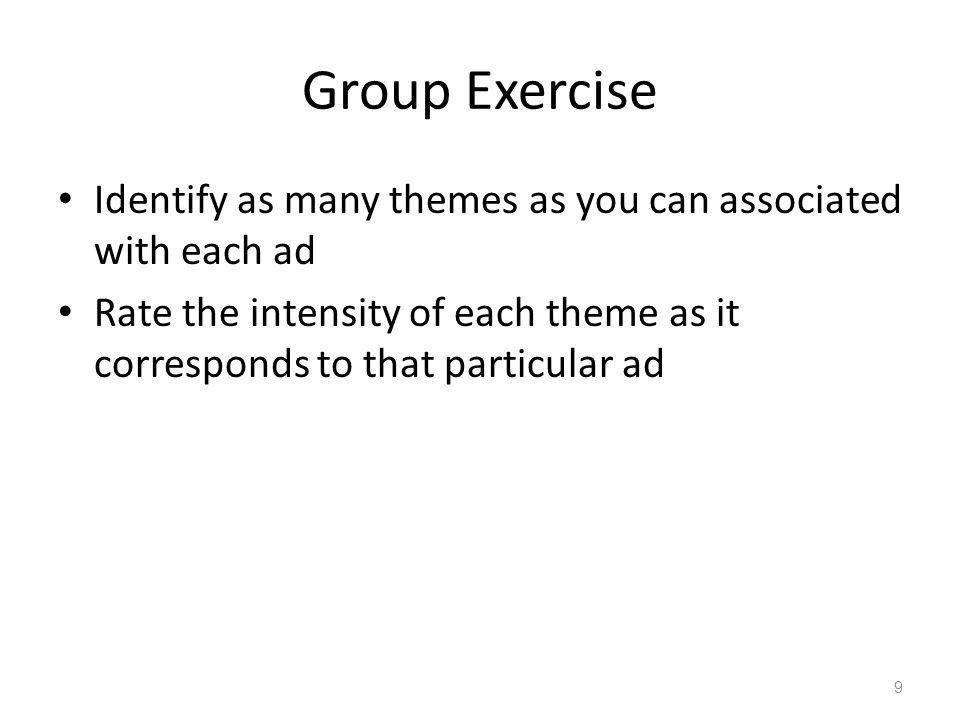 Group Exercise Identify as many themes as you can associated with each ad Rate the intensity of each theme as it corresponds to that particular ad 9