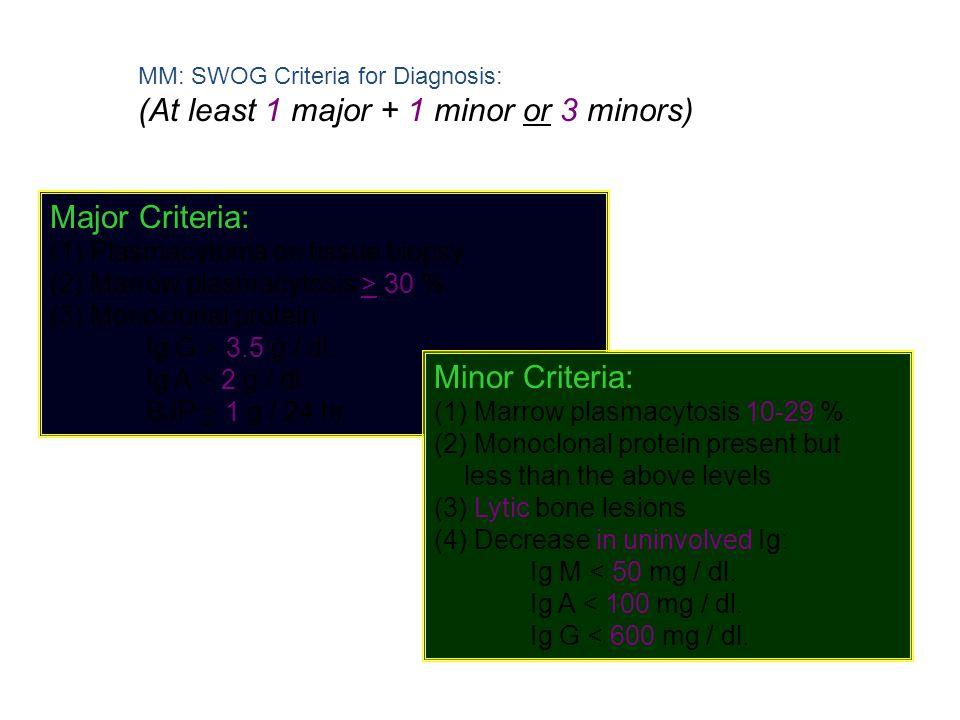 MM: SWOG Criteria for Diagnosis: (At least 1 major + 1 minor or 3 minors) Major Criteria: (1) Plasmacytoma on tissue biopsy (2) Marrow plasmacytosis >