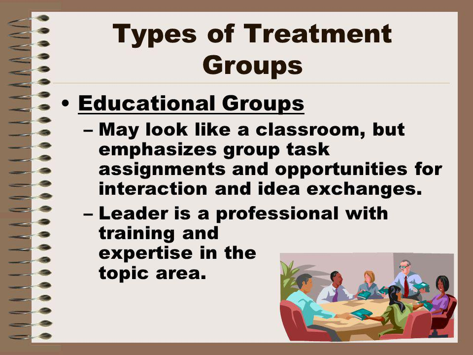 Types of Treatment Groups Educational Groups –May look like a classroom, but emphasizes group task assignments and opportunities for interaction and idea exchanges.