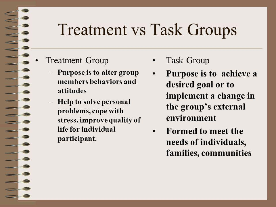 Treatment vs Task Groups Treatment Group –Purpose is to alter group members behaviors and attitudes –Help to solve personal problems, cope with stress, improve quality of life for individual participant.