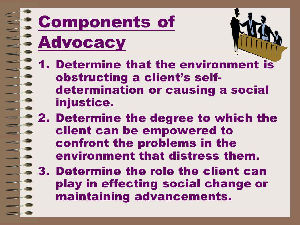 Components of Advocacy 1.Determine that the environment is obstructing a clients self- determination or causing a social injustice.