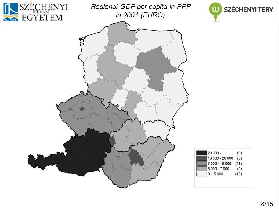 Regional GDP per capita in PPP in 2010 (Euro) 9/15