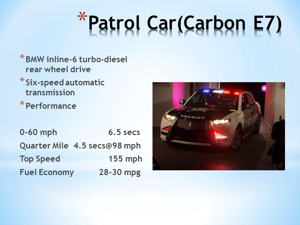 * BMW inline-6 turbo-diesel rear wheel drive * Six-speed automatic transmission * Performance 0-60 mph6.5 secs Quarter Mile 4.5 secs@98 mph Top Speed