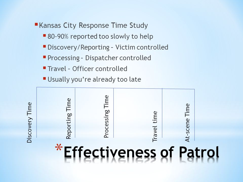 80-90% reported too slowly to help Discovery/Reporting – Victim controlled Processing – Dispatcher controlled Travel – Officer controlled Usually your