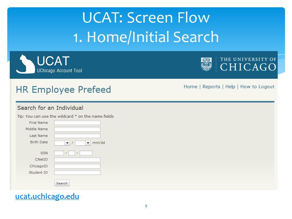 UCAT: Screen Flow 1. Home/Initial Search 9 ucat.uchicago.edu