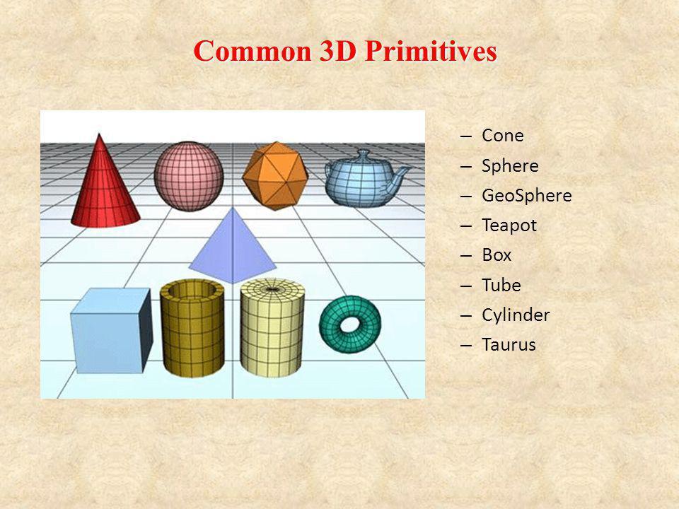 – Cone – Sphere – GeoSphere – Teapot – Box – Tube – Cylinder – Taurus Common 3D Primitives