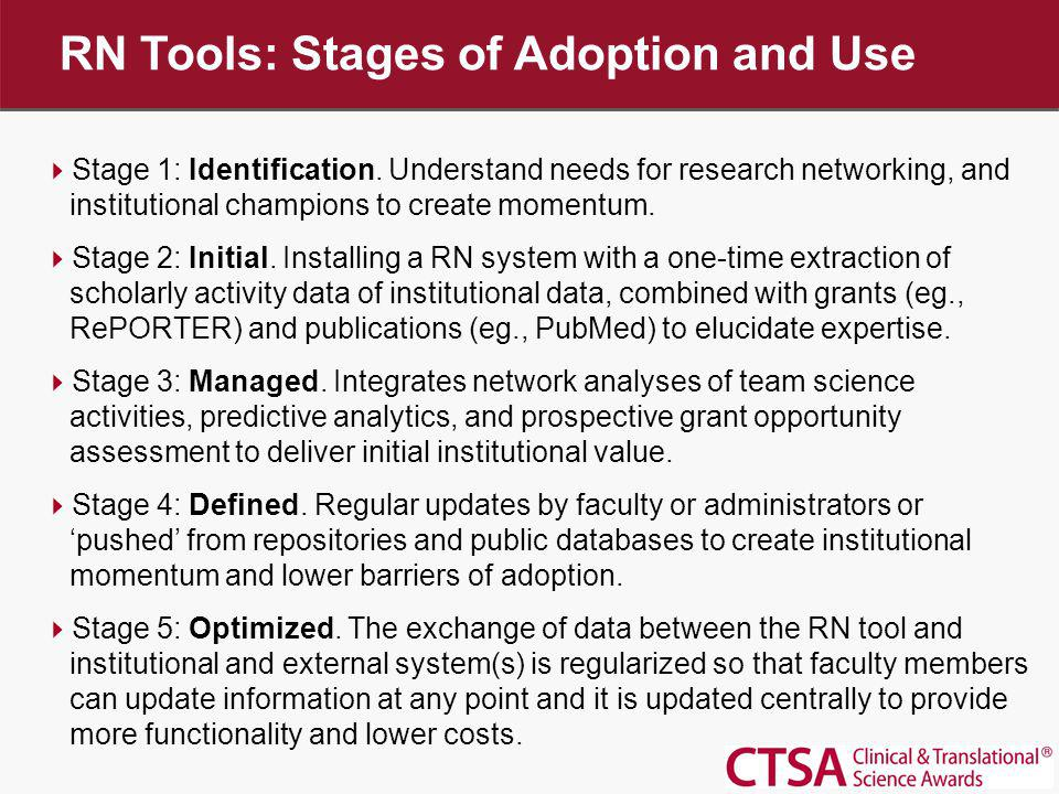 RN Tools: Stages of Adoption and Use Stage 1: Identification. Understand needs for research networking, and institutional champions to create momentum