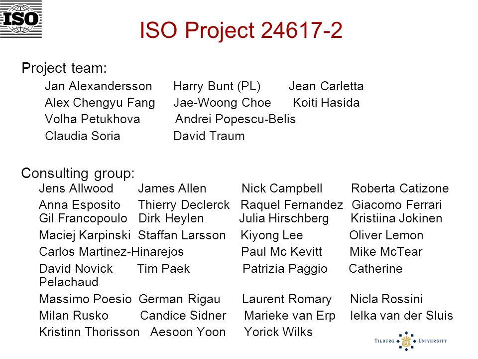 ISO Project 24617-2 Project team: Jan Alexandersson Harry Bunt (PL) Jean Carletta Alex Chengyu Fang Jae-Woong Choe Koiti Hasida Volha Petukhova Andrei