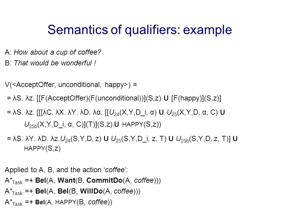 Semantics of qualifiers: example A: How about a cup of coffee.