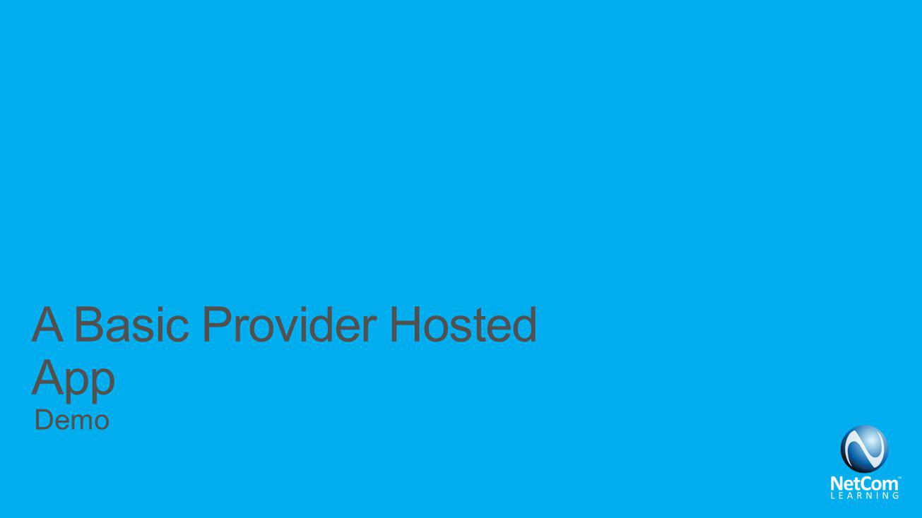 A Basic Provider Hosted App