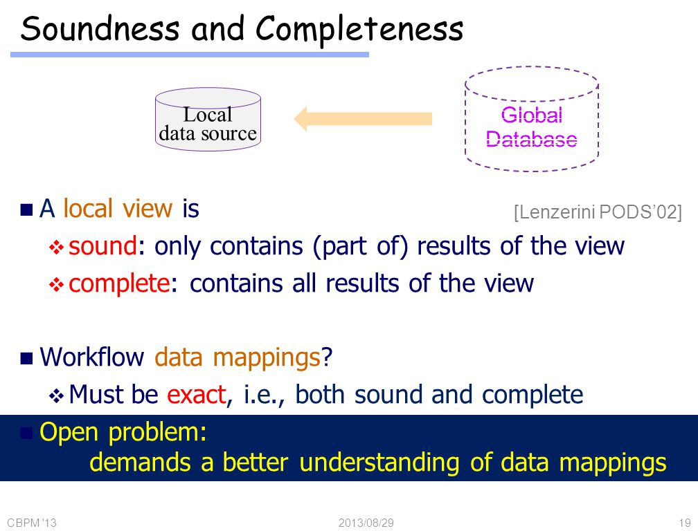 A local view is sound: only contains (part of) results of the view complete: contains all results of the view Workflow data mappings.