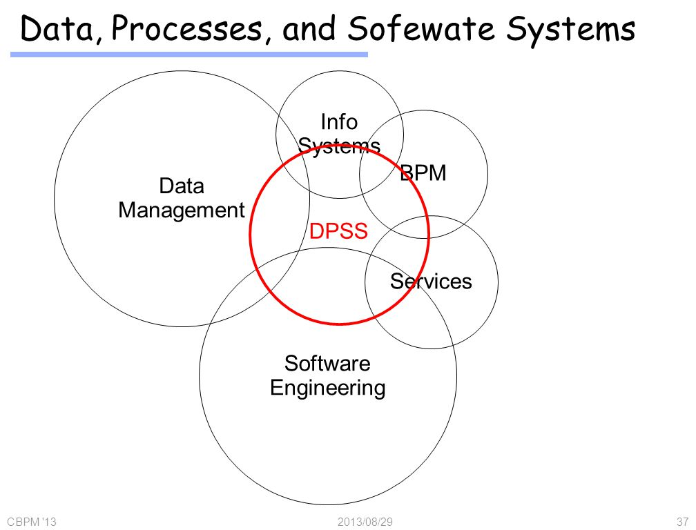Data, Processes, and Sofewate Systems 2013/08/29CBPM 1337 DPSS Data Management BPM Services Software Engineering Info Systems