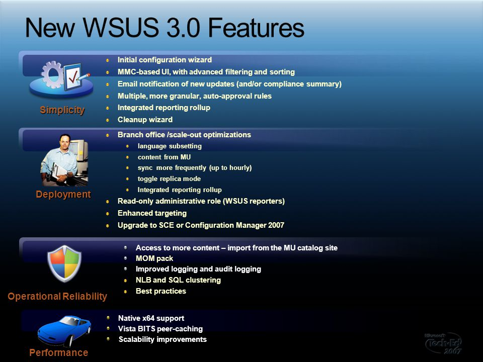 Installing the WSUS Server requires: Windows 2003 SP1+ (full support), Windows Server 2008 beta3+ (beta support) SQL Server 2005 SP1+ (only if using full SQL) Internet Information Services 6.0.NET Framework 2.0 MMC 3.0 Report Viewer The server can manage: Windows 2000 SP4, Windows XP SP1, Vista Windows Server 2003, Windows Server 2008 beta3 x86 and x64 support parity All supported Windows locales