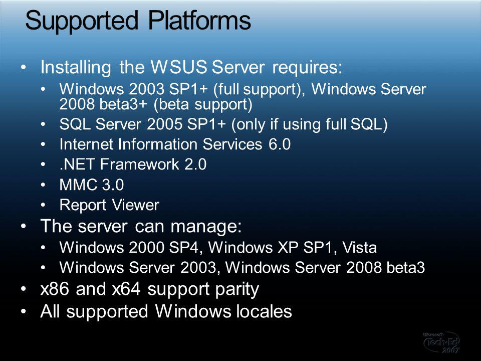 Technical Communities, Webcasts, Blogs, Chats & User Groups http://www.microsoft.com/communities/default.mspx Microsoft Developer Network (MSDN) & TechNet http://microsoft.com/msdn http://microsoft.com/technet http://www.microsoft.com/technet/scriptcenter/scripts/sus/server/susvvb01.mspx?mfr=true Trial Software and Virtual Labs http://www.microsoft.com/technet/downloads/trials/default.mspx Microsoft Learning and Certification http://www.microsoft.com/learning/default.mspx Microsoft.Public.Windows.Server.Update_Services http://blogs.technet.com/wsus/ My contact information http://blogs.technet.com/mkleef
