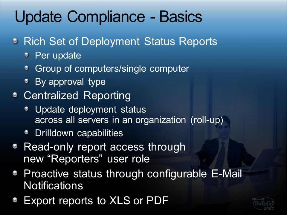 Server reports E-mail reports Sync Reports Computers and Updates reports SoftwareDistribution.log Change log Clients Update and Computer reports Client WindowsUpdate.log Custom Reporting from APIs and client log collections Use Server Diagnostics Tool to check the server