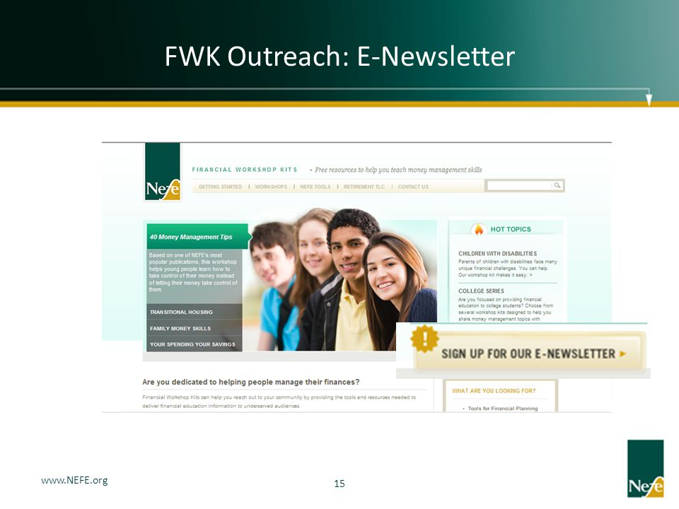 FWK Outreach: E-Newsletter 15 www.NEFE.org