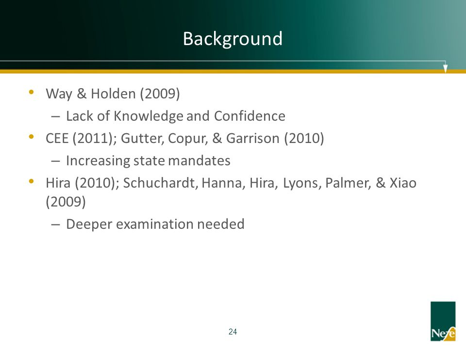 Background Way & Holden (2009) – Lack of Knowledge and Confidence CEE (2011); Gutter, Copur, & Garrison (2010) – Increasing state mandates Hira (2010)