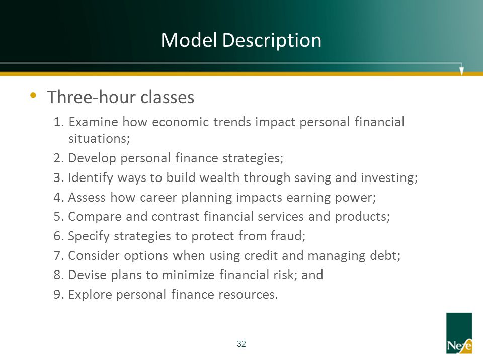 Model Description Three-hour classes 1. Examine how economic trends impact personal financial situations; 2. Develop personal finance strategies; 3. I