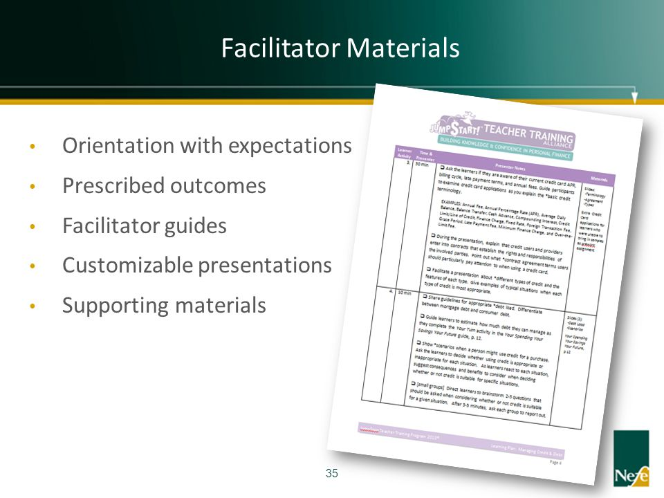 Facilitator Materials 35 Orientation with expectations Prescribed outcomes Facilitator guides Customizable presentations Supporting materials