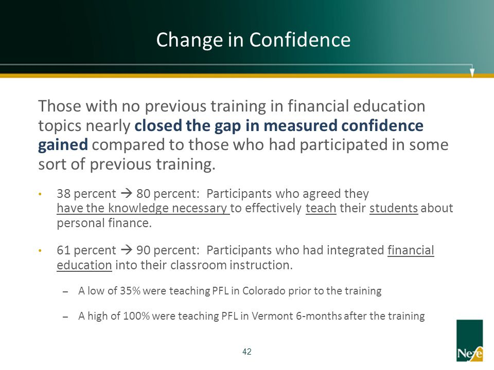 Change in Confidence Those with no previous training in financial education topics nearly closed the gap in measured confidence gained compared to tho