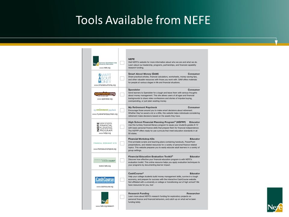 Tools Available from NEFE