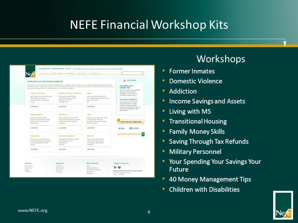 NEFE Financial Workshop Kits Workshops Former Inmates Domestic Violence Addiction Income Savings and Assets Living with MS Transitional Housing Family