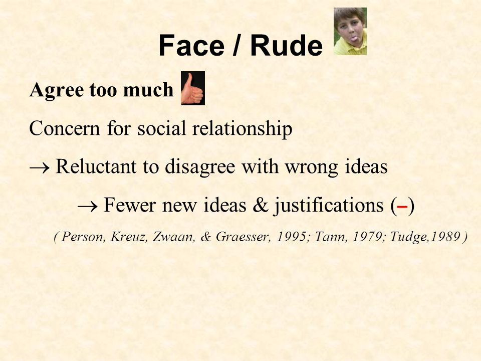 Face / Rude Agree too much Concern for social relationship Reluctant to disagree with wrong ideas Fewer new ideas & justifications ( – ) ( Person, Kreuz, Zwaan, & Graesser, 1995; Tann, 1979; Tudge,1989 )