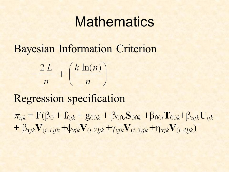 Mathematics Bayesian Information Criterion Regression specification